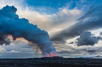 SITE OF THE ERUPTION OF THE VOLCANO HOLUHRAUN SPEWING OUT LAVA AND TOXIC GASSES (SULPHUR DIOXIDE) OVER NORTHERN EUROPE, BARDARBUNGA VOLCANIC SYSTEM, F...