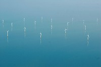 Windmills of Kentisch Flats in the North Sea in the Thames estuary. Kentish Flats is a offshore wind farm in the south-western North Sea off the south...