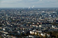 From the Schoeneberg district of Berlin in the state of Berlin the west view is across the roofs of houses, churches and skyscrapers of downtown Berli...