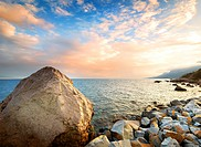 Stones on the coastline of the Black Sea