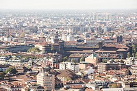 Aerial view of the city of Milan; in the middle can be distinguished the Sforza Castle, one of the most important symbols of the Lombard city, built i...