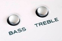 Close up view of the bass and treble buttons