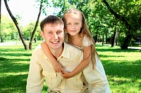 Father with daugther outside