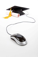 Black Mortarboard and computer mouse