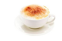 cappuccino in a cup in the shape of hearts isolated on white