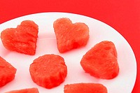 Sandia hearts on a plate - closeup