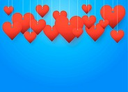 Background beautiful red hearts.