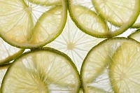 background of sliced fresh lime close up