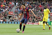 2015 Spanish La Liga football FC Barcelona v Getafe Apr 28th. 28.04.2015. Nou Camp, Barcelona, Spain. La Liga Football. Bercelona versus Getafe. Xavi ...