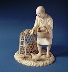 Ivory figure of a poulterer by Okawa Shizumune, c.1900 / Private Collection / Bridgeman Images