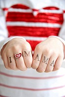 Human Hands Showing I Love You Mum, Munich, Bavaria, Germany, Europe