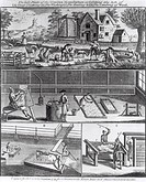 The First Plate of the Woollen Manufacture Exhibiting the Art of (A) Sheep Shearing (B) The Washing (C) The Beating and (D) The Combing of Wool, engra...