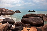 Picturesque rocks on the shore