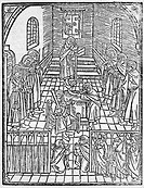 Jewish Confession, 1508 (woodcut) (b/w photo), German School, (16th century) / Private Collection / Bridgeman Images
