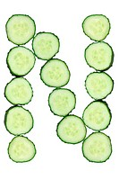 Vegetable Alphabet of chopped cucumber - letter N