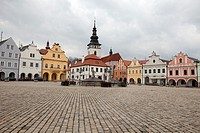 A view of Masaryk Square in Pelhrimov, a town located approximately half-way between Prague and Brno. It is known as â. œthe Gateway to the Highlandsâ...