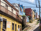 Valparaiso on the coast of the pacific. Historic town center,famous for the colorfull houses and its wall paintings, is listed as UNESCO world heritag...