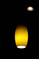 Amber colored hanging ceiling light