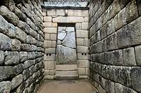 Archaeological site of Machu Picchu, Cusco, Peru. Sun temple and mausoleum.