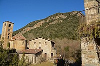 The village of Beget with the Sant Cristofol Romanesque church on the left. Beget, Girona, Catalonia, Spain.