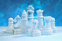Chess figures under snow