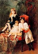 Mr. Balashov's Children, 1880 (oil on canvas), Makovsky, Konstantin Egorovich (1839-1915) / Rybinsk Historical, Architectural and Art Museum / Bridgem...