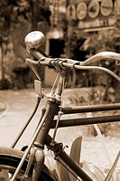 Close up of vintage old bicycle.