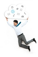 The business man holding a cloud on a white background on the fly