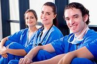 group of happy doctors