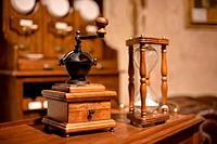 Vintage manual wooden coffee grinder