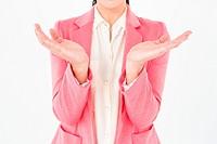 Elegant brunette presenting her hands