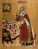 Pope Klemens with scenes from his life (tempera on panel), Russian School, (17th century) / State Art Gallery, Perm / Bridgeman Images