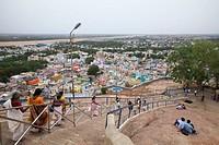 India, Tamil Nadu, Tiruchirappalli, View of Rock fort staircase.