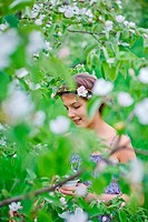 Girl in spring garden