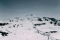 Spain, Lleida, Mountains in winter, ski resort