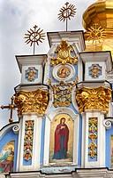 Saint Michael Monastery Cathedral Saint Barbara Painting Facade Kiev Ukraine. Saint Michael's is a functioning Greek Orthordox Monasatery in Kiev. The...