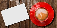 Composite image of red cup of coffee