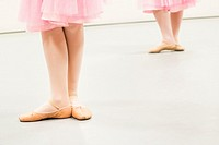 Den Bosch, ´s-Hertogenbosch, Netherlands. Class of schoolgirls practising classical ballet at a local balletstudio.