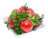 Heap of Tomatoes on a plate (white)