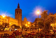 Night view of El Micalet and Cathedral. Valencia, Spain