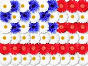 Background of flowers as USA flag