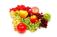 Various summer fruits isolated on the white