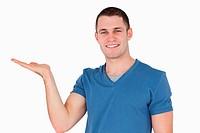 Smiling man holding something