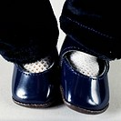 Patent-leather shoes, detail of Einco 0 1/2, character baby doll with painted eyebrows, bisque head, doll made by Eisenmann and Co. Germany, 20th cent...