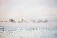 Reichenau island dam, Lake Constance, morning atmosphere, fresh snow and fog, Allensbach, Baden-Württemberg, Germany