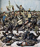 The Russian regimental band continuing to play as the battle rages ca the Yalu River, illustration from Petit Journal, 1904. Russo-Japanese War, North...