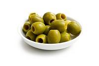 green olives in white bowl