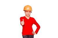 Young girl in a helmet isolated