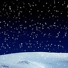 Fresh snow cover, at night. Winter background