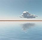 Single cloud floats on the horizon